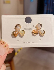 Fashion Real Gold Plated Crystal Flower Alloy Diamond Earrings