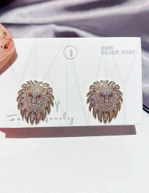 Fashion Real Gold Plated Lion Copper Inlaid Zircon Earrings