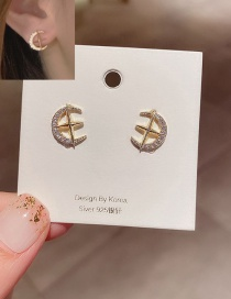 Fashion 14k Real Gold Plated Cross Star Moon Copper Inlaid Zircon Earrings