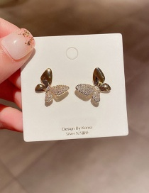Fashion Real Gold Plated Butterfly Copper Inlaid Zircon Earrings