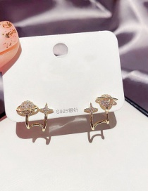 Fashion Real Gold Plated Four-pointed Star Copper Inlaid Zircon Planet Earrings