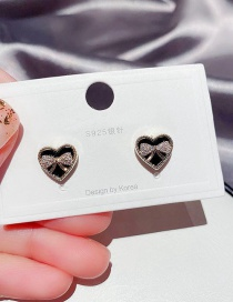 Fashion Real Gold Plated Bowknot Love Heart Dripping Copper Inlaid Zircon Earrings