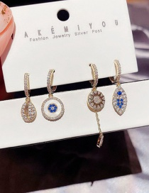 Fashion Real Gold Plated Round Brand Small Fish Shell Eyes Copper Inlaid Zircon Earrings Set