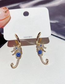 Fashion Real Gold Plated Seahorse Copper Inlaid Zircon Round Earrings