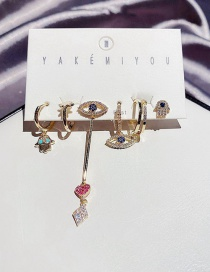 Fashion Real Gold Plated Copper Inlaid Zircon Eyes Palm Asymmetric Earrings Set