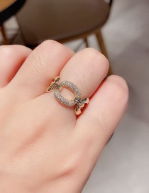 Fashion Real Gold Plated Metal Lock Copper Inlaid Zircon Hollow Ring