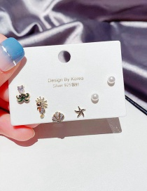 Fashion Real Gold Plated Octopus Seahorse Starfish Seashell Earring Set