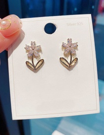 Fashion Real Gold Plated Flower Copper Inlaid Zircon Earrings