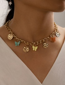 Fashion Golden Disc Butterfly Resin Geometric Necklace