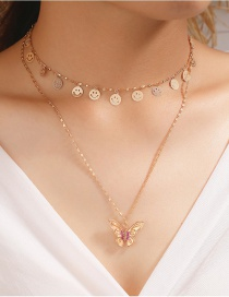 Fashion Rose Gold Circle Butterfly Smiley Alloy Multilayer Necklace