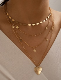 Fashion Golden Five-pointed Star Love Letter Butterfly Alloy Multilayer Necklace