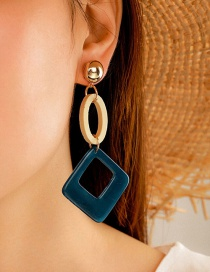 Fashion Color Mixing Square Acrylic Hit Color Hollow Earrings