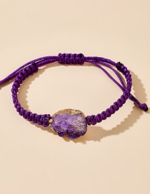 Fashion Purple Geometric Water Droplets Imitation Natural Stone Resin Cord Hand-woven Anklet