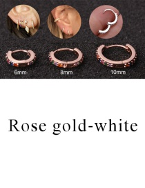 Fashion Rose Gold-white 6mm Micro-inlaid Zircon Round Copper Gold-plated Cartilage Earrings