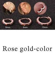 Fashion Rose Gold-color 6mm Micro-inlaid Zircon Round Copper Gold-plated Cartilage Earrings