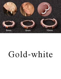 Fashion Gold-white 8mm Micro-inlaid Zircon Round Copper Gold-plated Cartilage Earrings