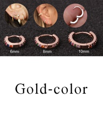 Fashion Gold-color 8mm Micro-inlaid Zircon Round Copper Gold-plated Cartilage Earrings