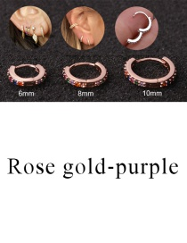 Fashion Rose Gold-purple 8mm Micro-inlaid Zircon Round Copper Gold-plated Cartilage Earrings