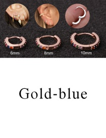Fashion Gold-blue 10mm Micro-inlaid Zircon Round Copper Gold-plated Cartilage Earrings