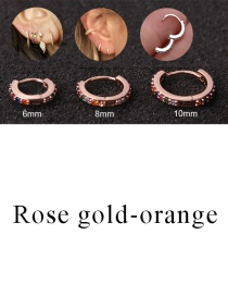 Fashion Rose Gold-orange 10mm Micro-inlaid Zircon Round Copper Gold-plated Cartilage Earrings