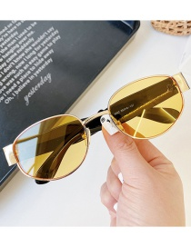 Fashion Ocean Yellow Oval Metal Wide Temple Sunglasses