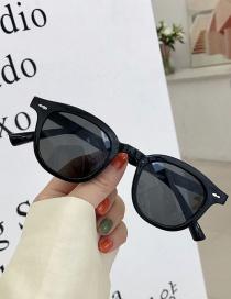 Fashion Bright Black And Gray Flakes Mi Nail Round Frame Blue-ray Sunglasses