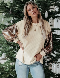 Fashion M Beige Sequins Contrast Stitching Loose Knit Sweater Top