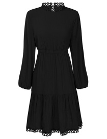 Fashion Black Solid Color High Waist Hollow Lace Stitching Lantern Sleeve Dress