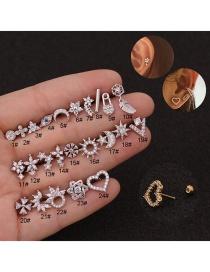 Fashion 24#silver Flower Stainless Steel Screw Geometric Earrings