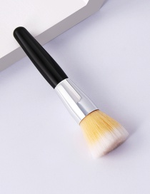 Fashion Single-mi-black And White-flat Head Flat Head Makeup Brush With Wooden Handle And Aluminum Tube