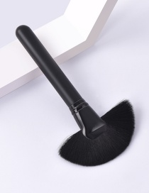 Fashion Single-all Black-sector Color Makeup Brush With Wooden Handle And Aluminum Tube Nylon Hair