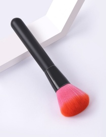 Fashion Single-all Black-deep Powder-loose Powder Color Makeup Brush With Wooden Handle And Aluminum Tube Nylon Hair