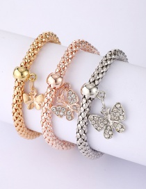 Fashion Color Mixing Alloy Elastic Diamond Multi-layer Butterfly Bracelet