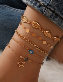 Fashion Gold Color Coloren Shell Disc Five-pointed Star Eyes Multilayer Anklet