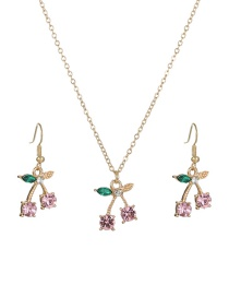 Fashion Pink Cherry Suit Cherry Diamond Alloy Earring Necklace