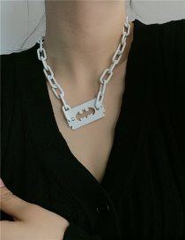 Fashion Thick White Chain Blade Shape Thick Chain Pendant Necklace