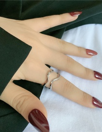 Fashion Silver Color Curved Geometric Lines Irregular Corrugated Curved Double Layer Ring