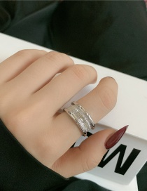 Fashion Silver Color Geometric Metal Groove Open Ring