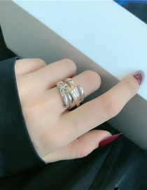 Fashion Silver Color Three Layers Metal Cross-wound Two-tone Open Ring