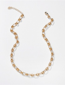 Fashion Gold Color Color Hollow Alloy Handmade Chain Mid-length Necklace