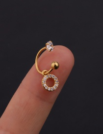 Fashion 13# 8mm Gold Color Color Stainless Steel Geometric C-shaped Flower Micro-inlaid Zircon Earrings (1 Price)