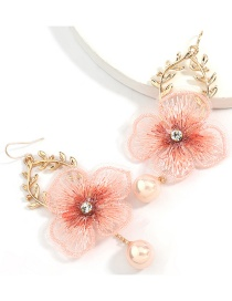 Fashion Pink Alloy Leaf Lace Flower Alloy Earrings