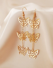 Fashion Gold Color Hollow Butterfly Pendant Earrings