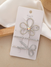 Fashion Silver Color Rhinestone Flower Scissors Hairpin Set