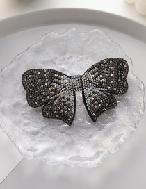 Fashion Black Full Diamond Butterfly Combined With Blonde Clip