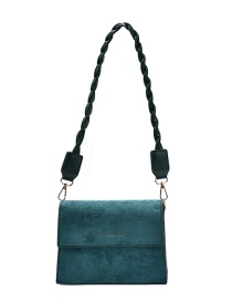 Fashion Green Frosted Flap And Gilded Letters One-shoulder Messenger Bag