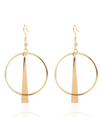 Fashion Gold Color Geometric Alloy Round Hollow Earrings