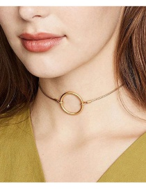 Fashion Gold Color Alloy Ring Single Layer Necklace