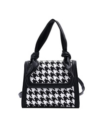 Fashion Black Checked Woolen Cloth Stitching One-shoulder Diagonal Bag