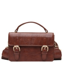 Fashion Brown Solid Color Single Shoulder Messenger Bag With Belt Buckle Flap